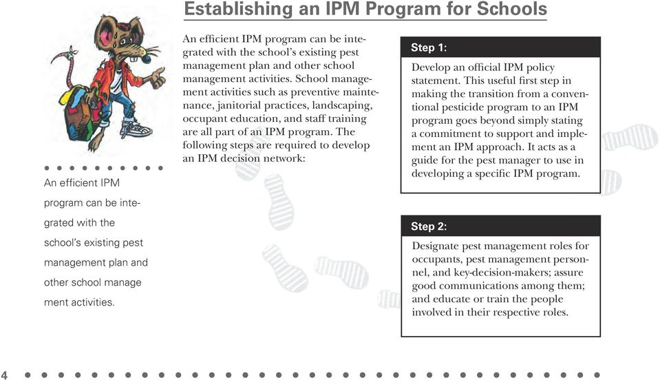 School management activities such as preventive maintenance, janitorial practices, landscaping, occupant education, and staff training are all part of an IPM program.