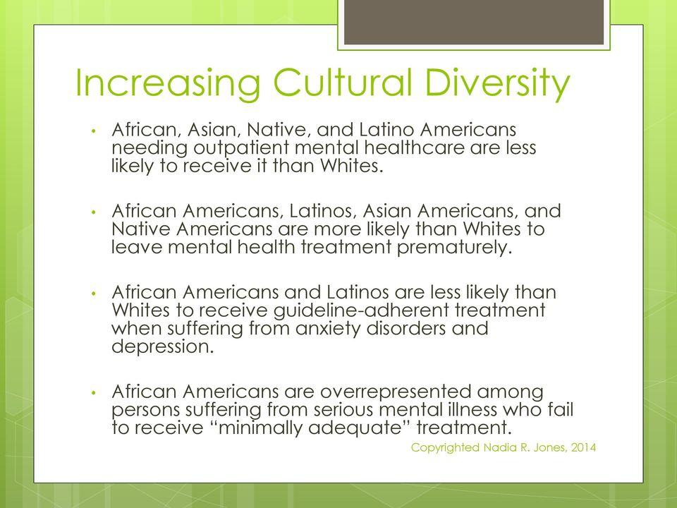 African Americans and Latinos are less likely than Whites to receive guideline-adherent treatment when suffering from anxiety disorders and