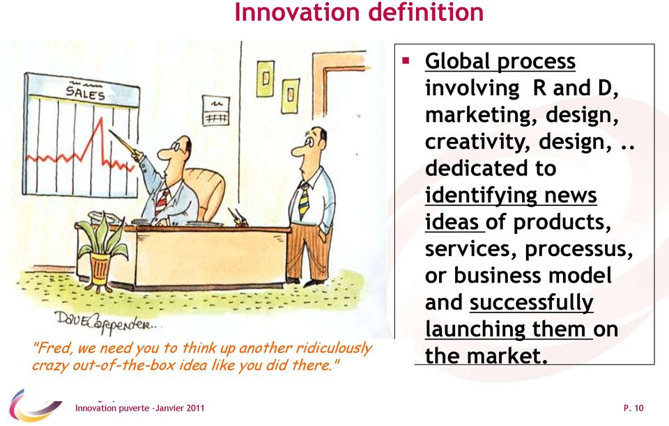""" Global process involving R and D, marketing, design, creativity, design,."