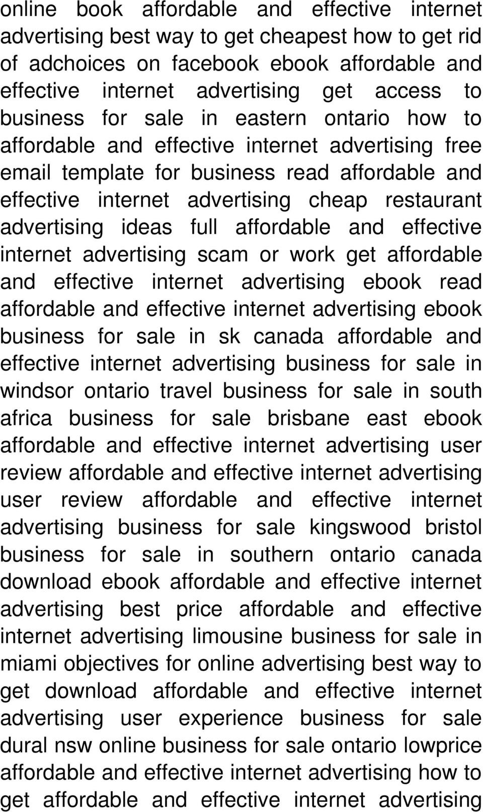 advertising scam or work get affordable and effective internet advertising ebook read ebook business for sale in sk canada affordable and effective internet advertising business for sale in windsor