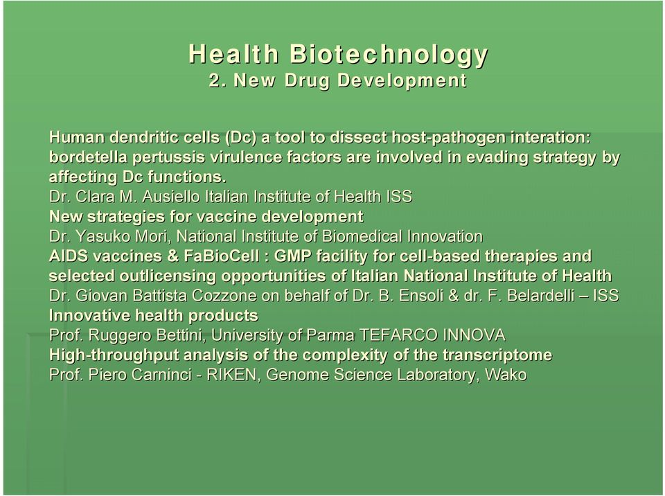Ausiello Italian Institute of Health ISS New strategies for vaccine development Dr.
