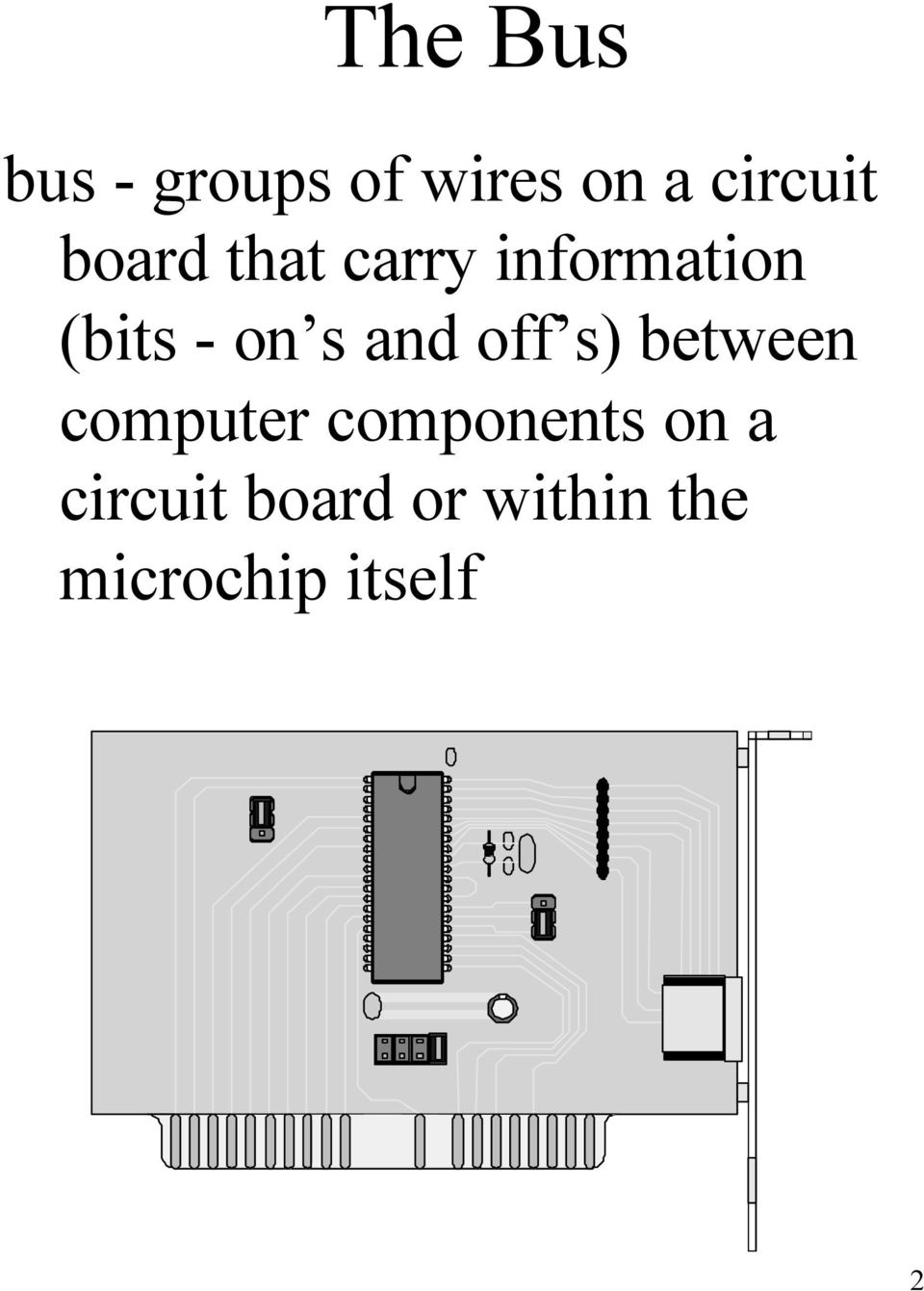 and off s) between computer components on a