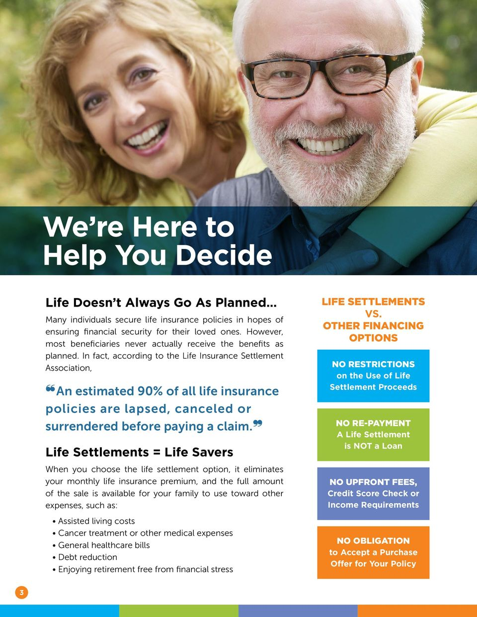 In fact, according to the Life Insurance Settlement Association, An estimated 90% of all life insurance policies are lapsed, canceled or surrendered before paying a claim.