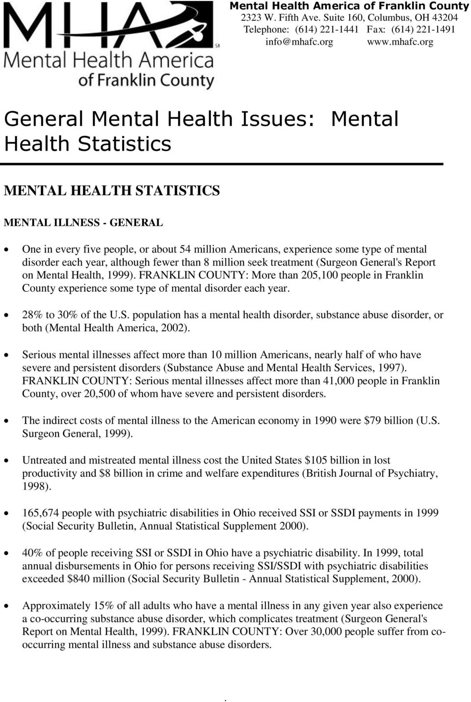 million seek treatment (Surgeon General's Report on Mental Health, 1999) FRANKLIN COUNTY: More than 205,100 people in Franklin County experience some type of mental disorder each year 28% to 30% of