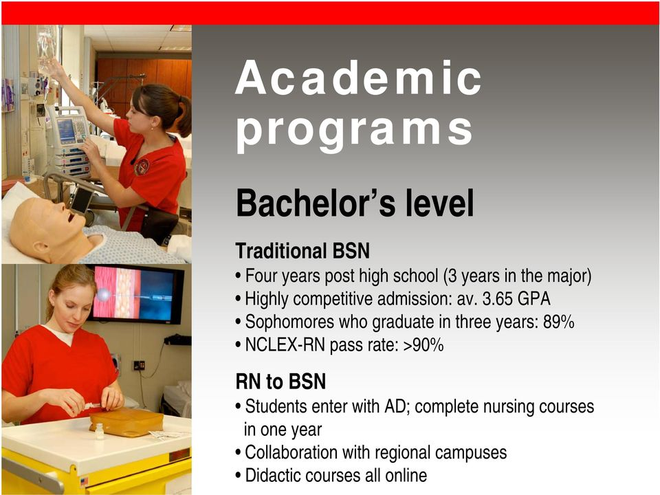65 GPA Sophomores who graduate in three years: 89% NCLEX-RN pass rate: >90% RN to BSN