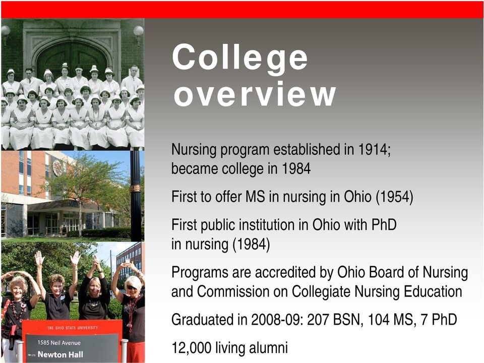 nursing (1984) Programs are accredited by Ohio Board of Nursing and Commission on