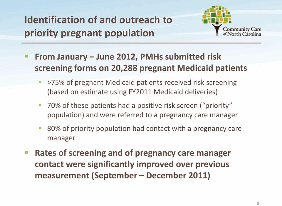 patients had a positive risk screen ( priority population) and were referred to a pregnancy care manager 80% of priority population had contact with