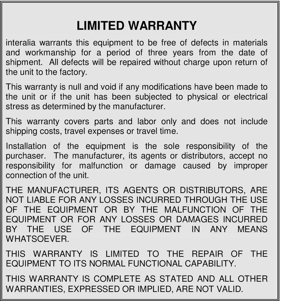 This warranty is null and void if any modifications have been made to the unit or if the unit has been subjected to physical or electrical stress as determined by the manufacturer.