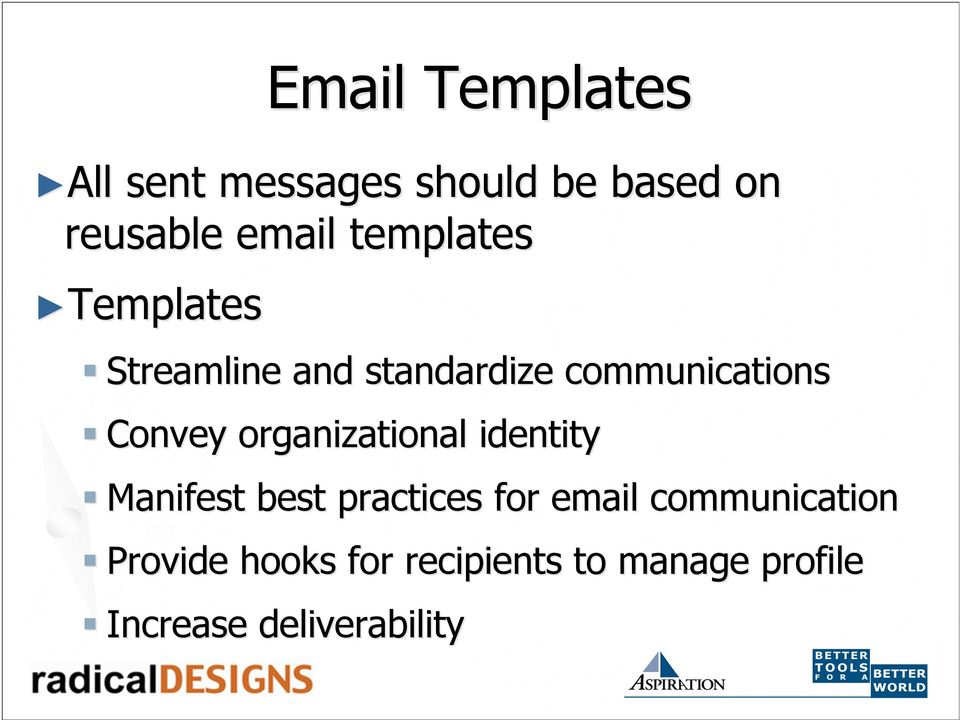 organizational identity Manifest best practices for email