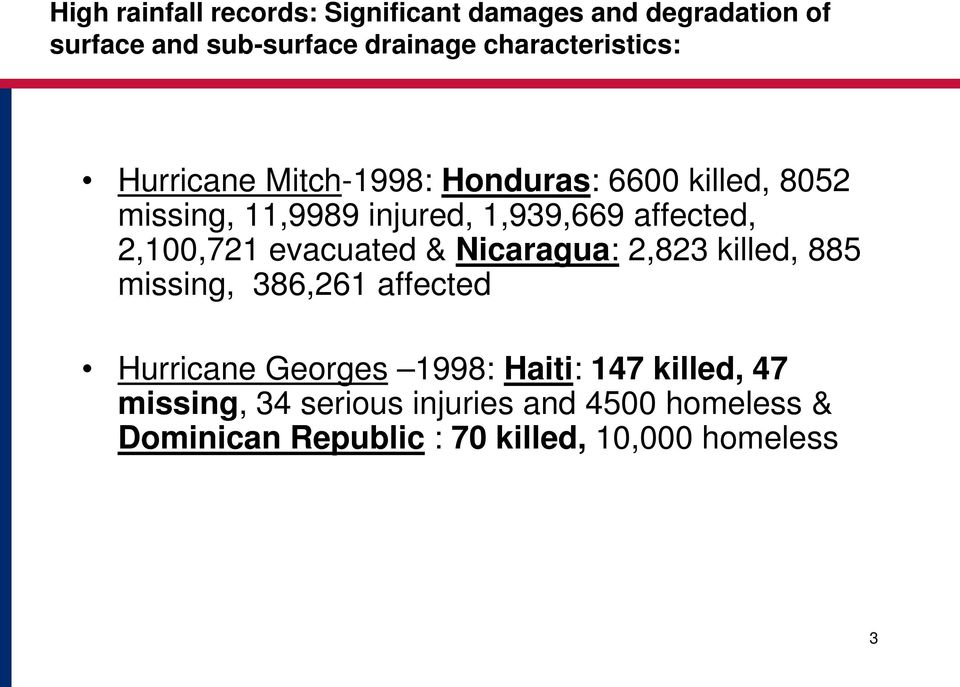 affected, 2,100,721 evacuated & Nicaragua: 2,823 killed, 885 missing, 386,261 affected Hurricane Georges