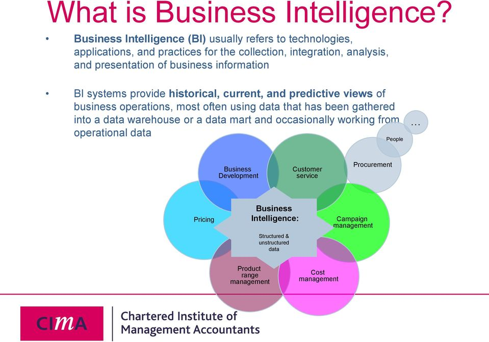 of business information BI systems provide historical, current, and predictive views of business operations, most often using data that has been