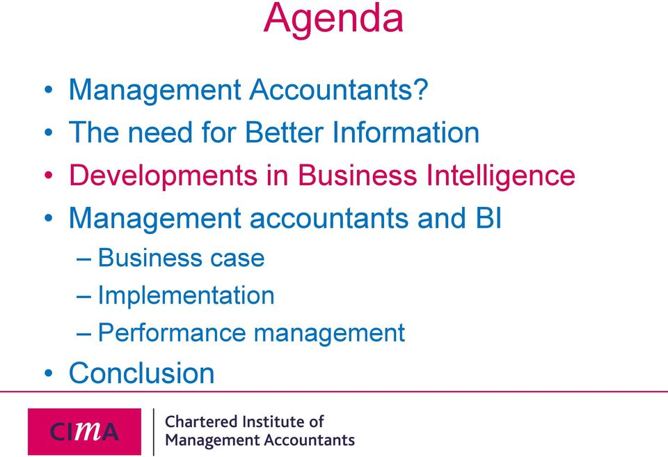 Business Intelligence Management accountants and