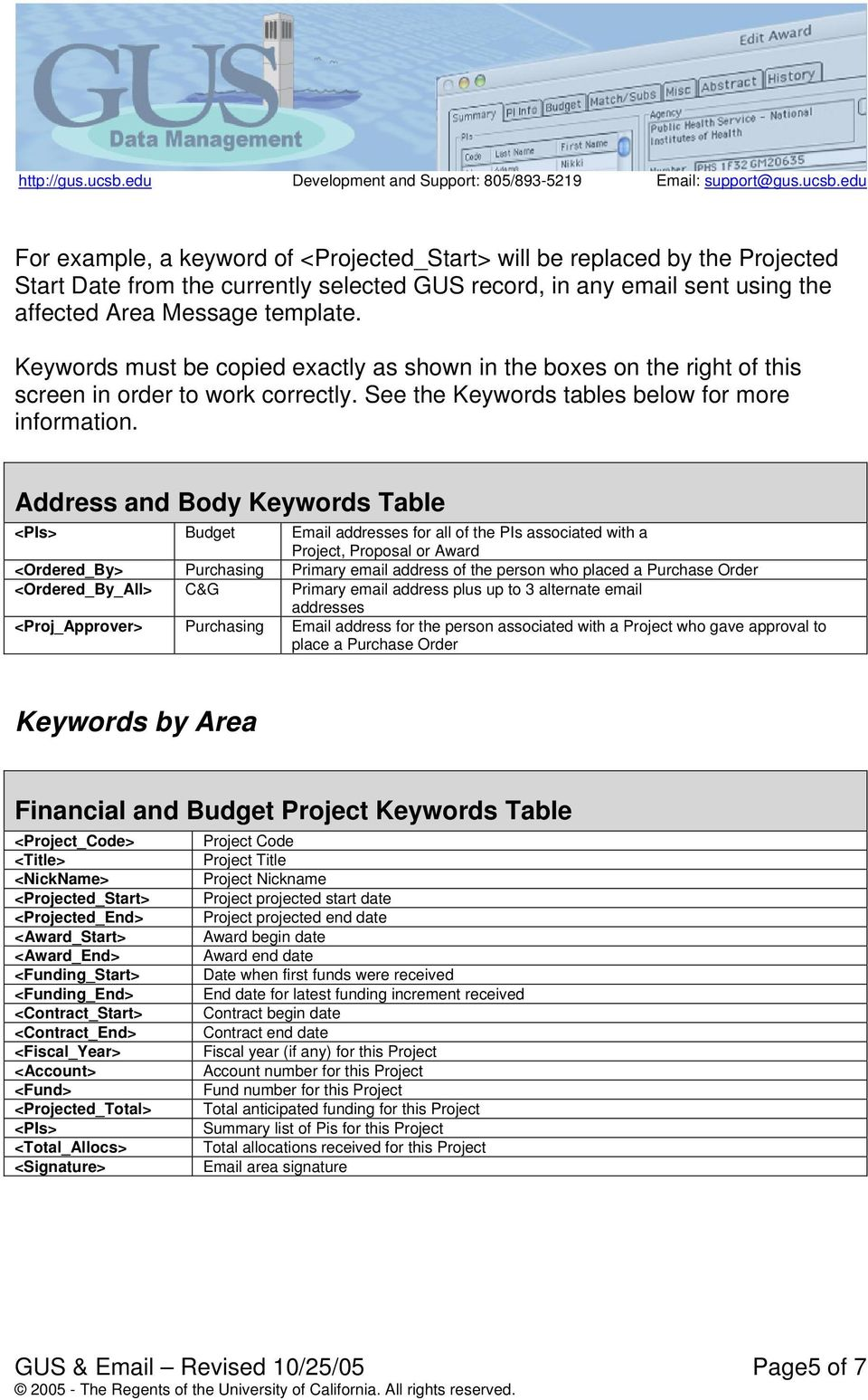 Address and Body Keywords Table <PIs> Budget Email addresses for all of the PIs associated with a Project, Proposal or Award <Ordered_By> Purchasing Primary email address of the person who placed a
