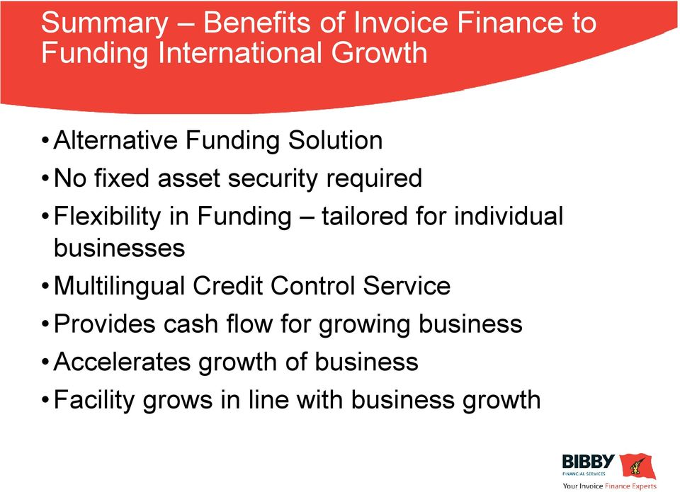 for individual businesses Multilingual Credit Control Service Provides cash flow for