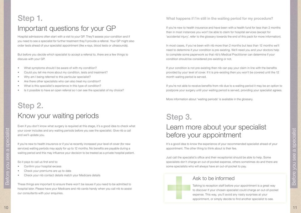 Your GP might also order tests ahead of your specialist appointment (like x-rays, blood tests or ultrasounds).