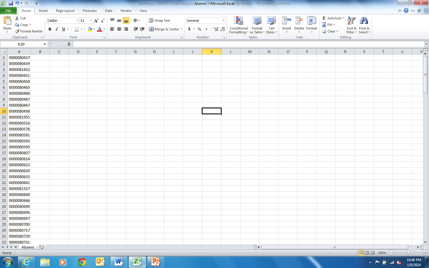 Creating the Recipient List Recipient Excel file will look like this when