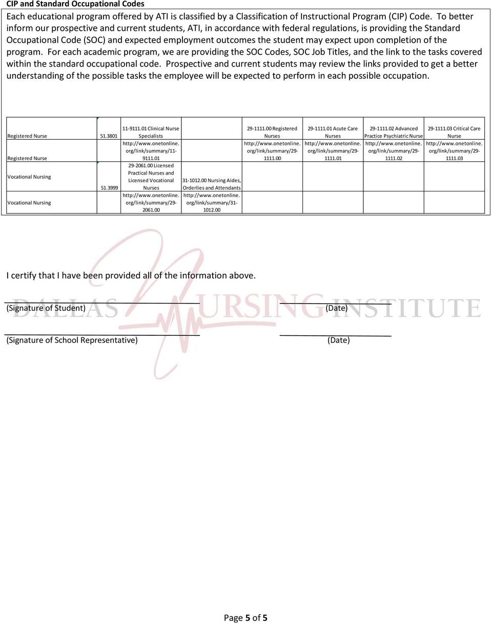 expect upon completion of the program. For each academic program, we are providing the SOC Codes, SOC Job Titles, and the link to the tasks covered within the standard occupational code.