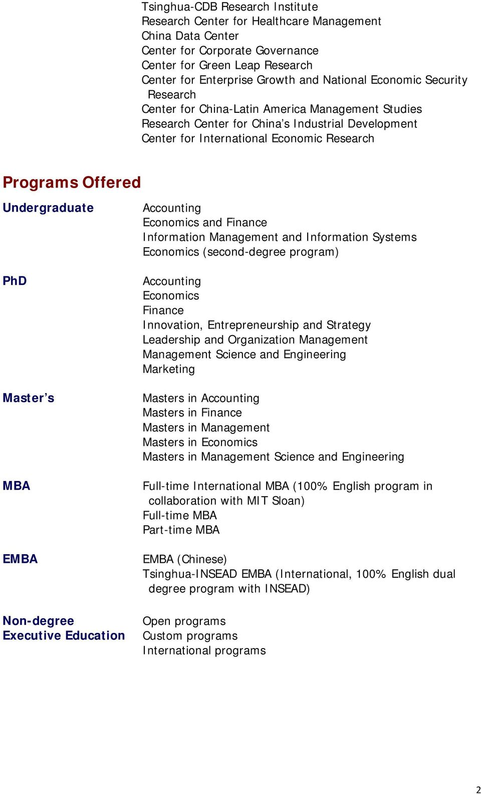 Undergraduate PhD Master s MBA EMBA Non-degree Executive Education and Finance Information Management and Information Systems (second-degree program) Finance Innovation, Entrepreneurship and Strategy