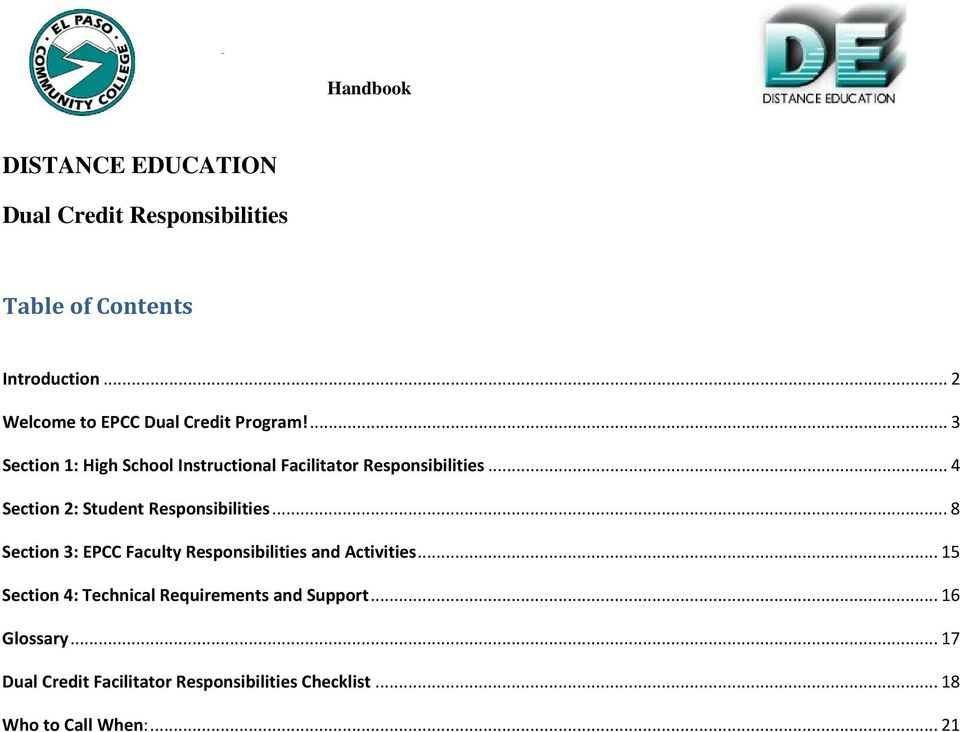 .. 4 Section 2: Student Responsibilities... 8 Section 3: EPCC Faculty Responsibilities and Activities.