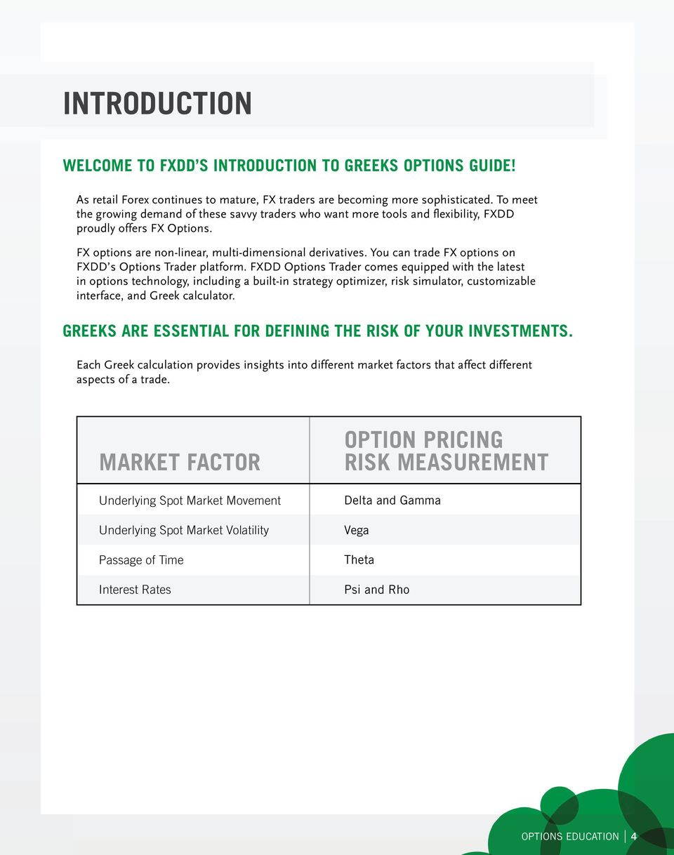 You can trade FX options on FXDD s Options Trader platform.