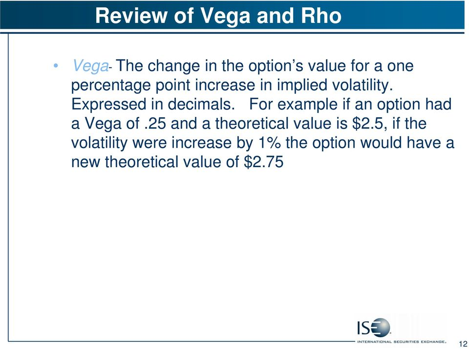 For example if an option had a Vega of.25 and a theoretical value is $2.
