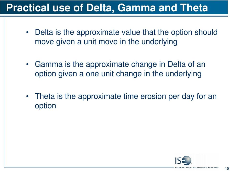 the approximate change in Delta of an option given a one unit change in