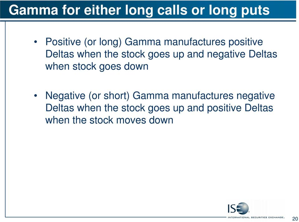 when stock goes down Negative (or short) Gamma manufactures negative