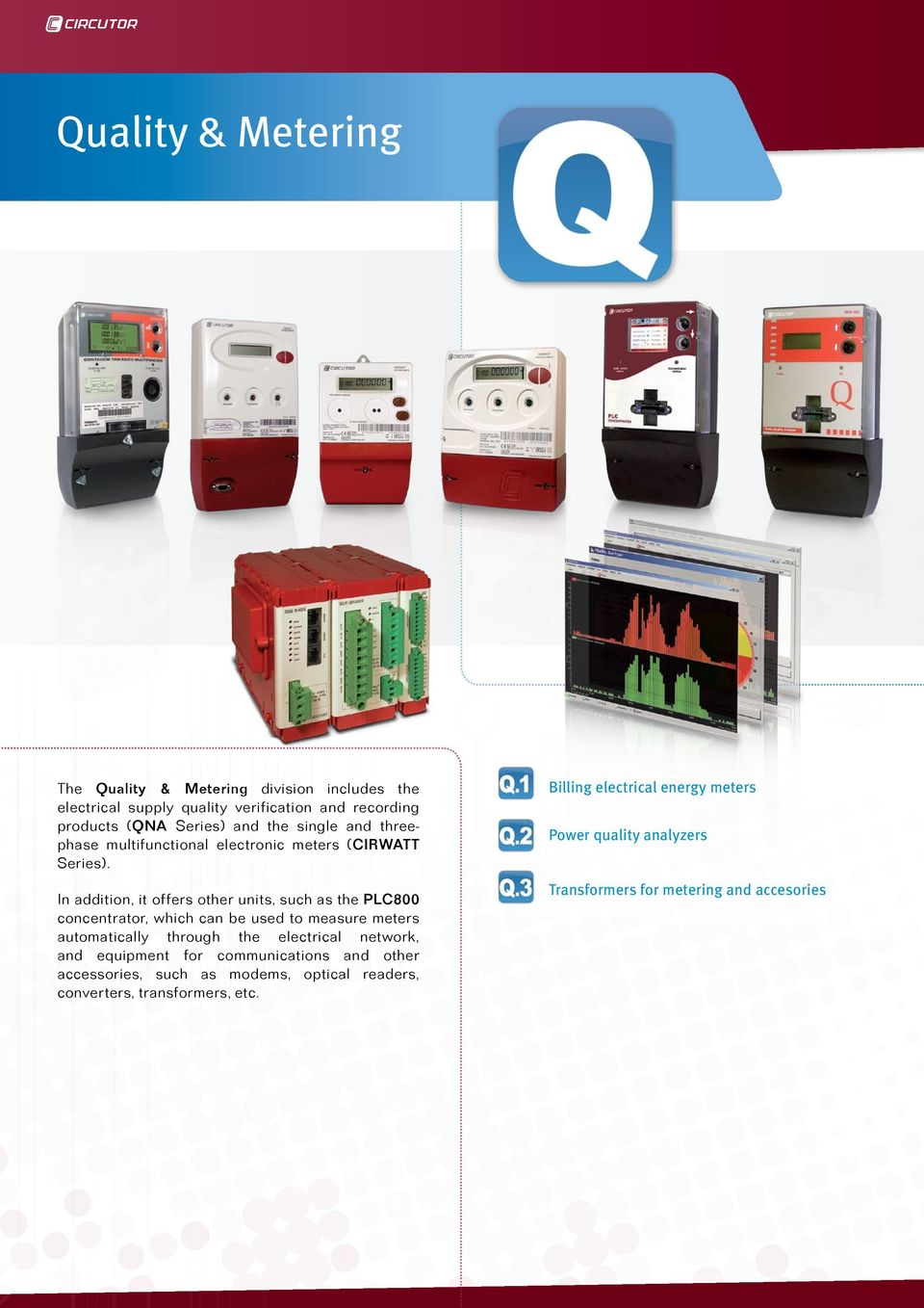 In addition, it offers other units, such as the PLC800 concentrator, which can be used to measure meters automatically through the electrical