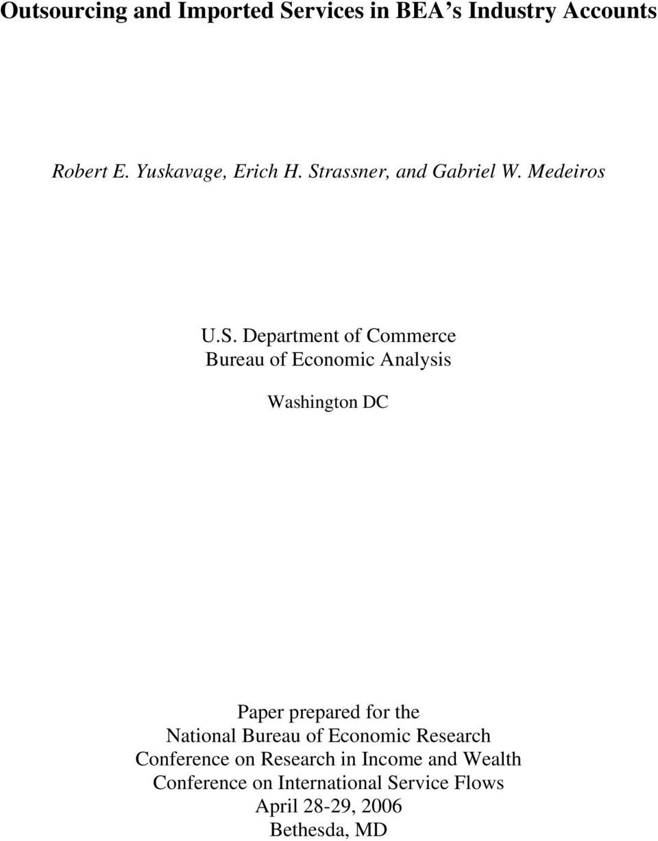 Washington DC Paper prepared for the National Bureau of Economic Research Conference on