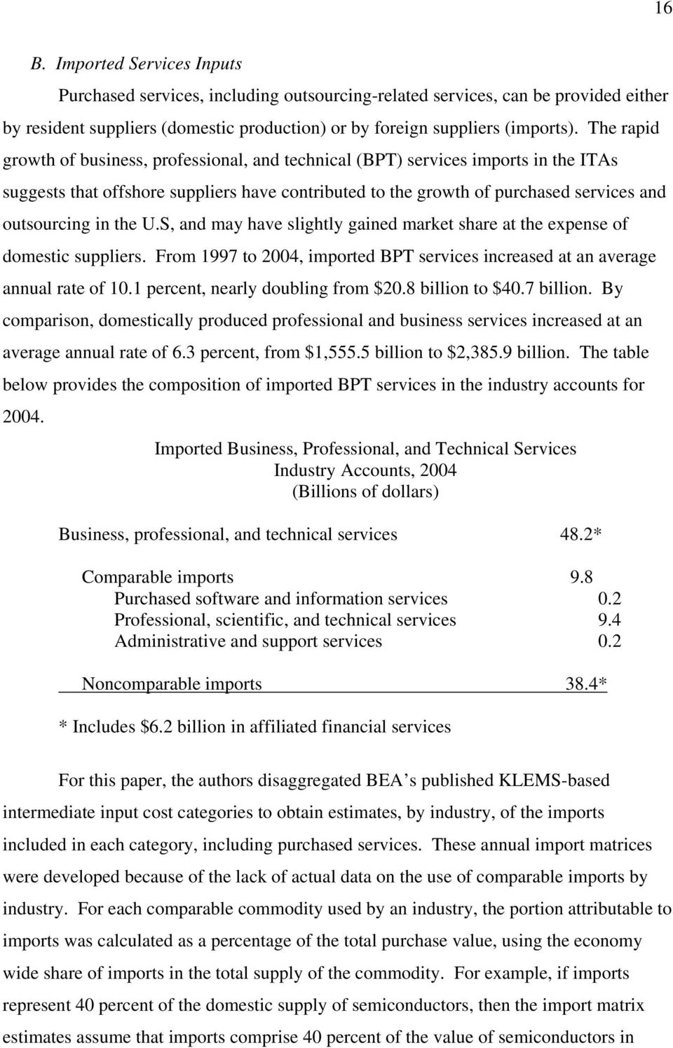 the U.S, and may have slightly gained market share at the expense of domestic suppliers. From 1997 to 2004, imported BPT services increased at an average annual rate of 10.
