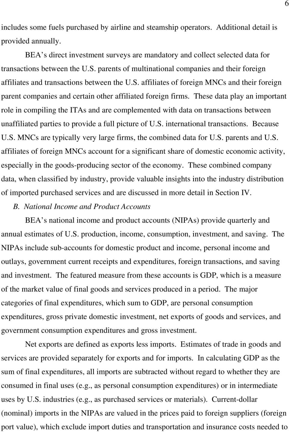 parents of multinational companies and their foreign affiliates and transactions between the U.S.