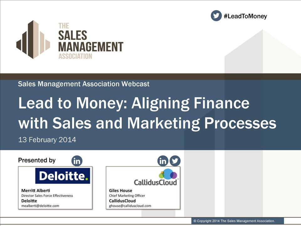 Sales and Marketing Processes 13 February 2014