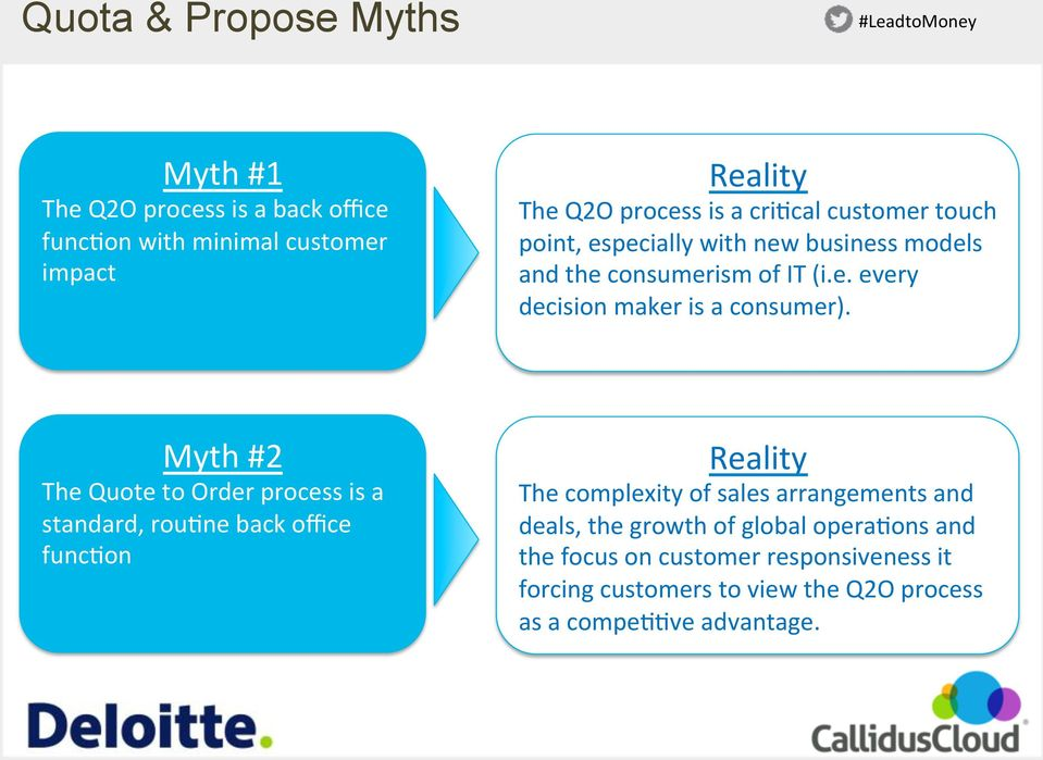 Myth #2 The Quote to Order process is a standard, rou<ne back office func<on Reality The complexity of sales arrangements and deals, the