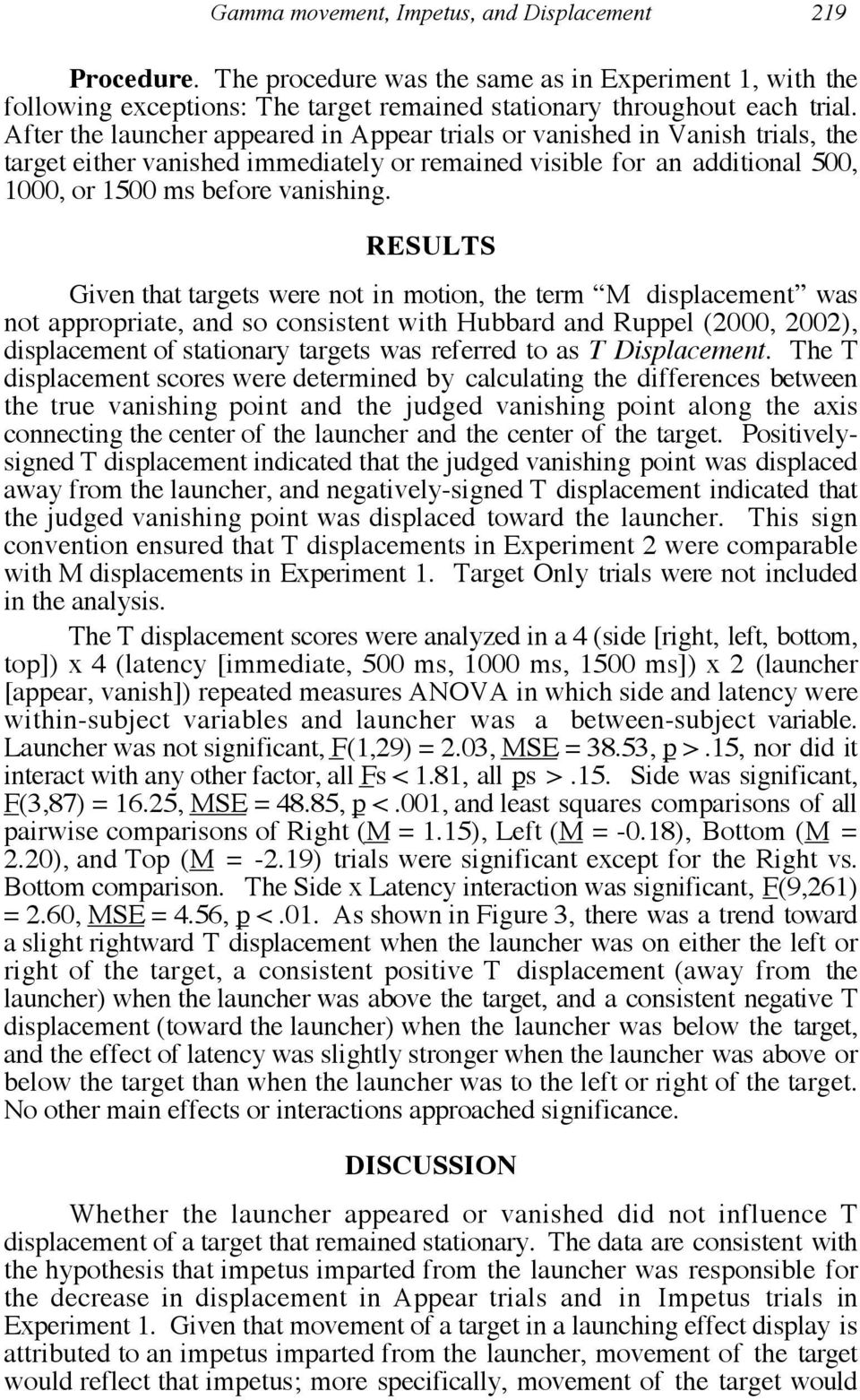 RESULTS Given that targets were not in motion, the term M displacement was not appropriate, and so consistent with Hubbard and Ruppel (2000, 2002), displacement of stationary targets was referred to