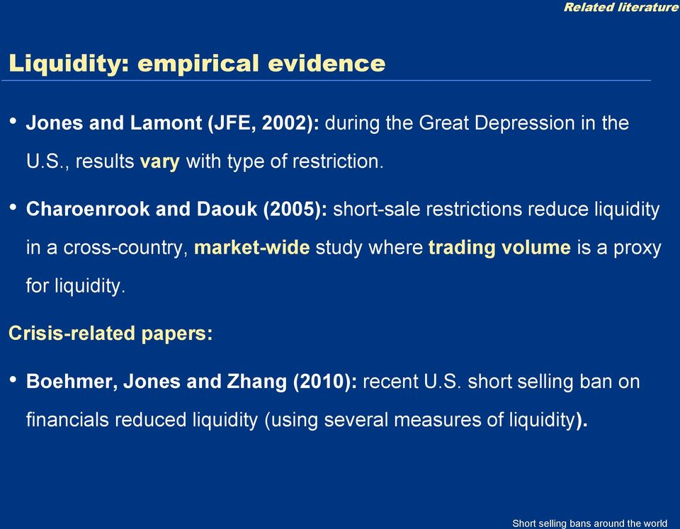 Charoenrook and Daouk (2005): short-sale restrictions reduce liquidity in a cross-country, market-wide study where