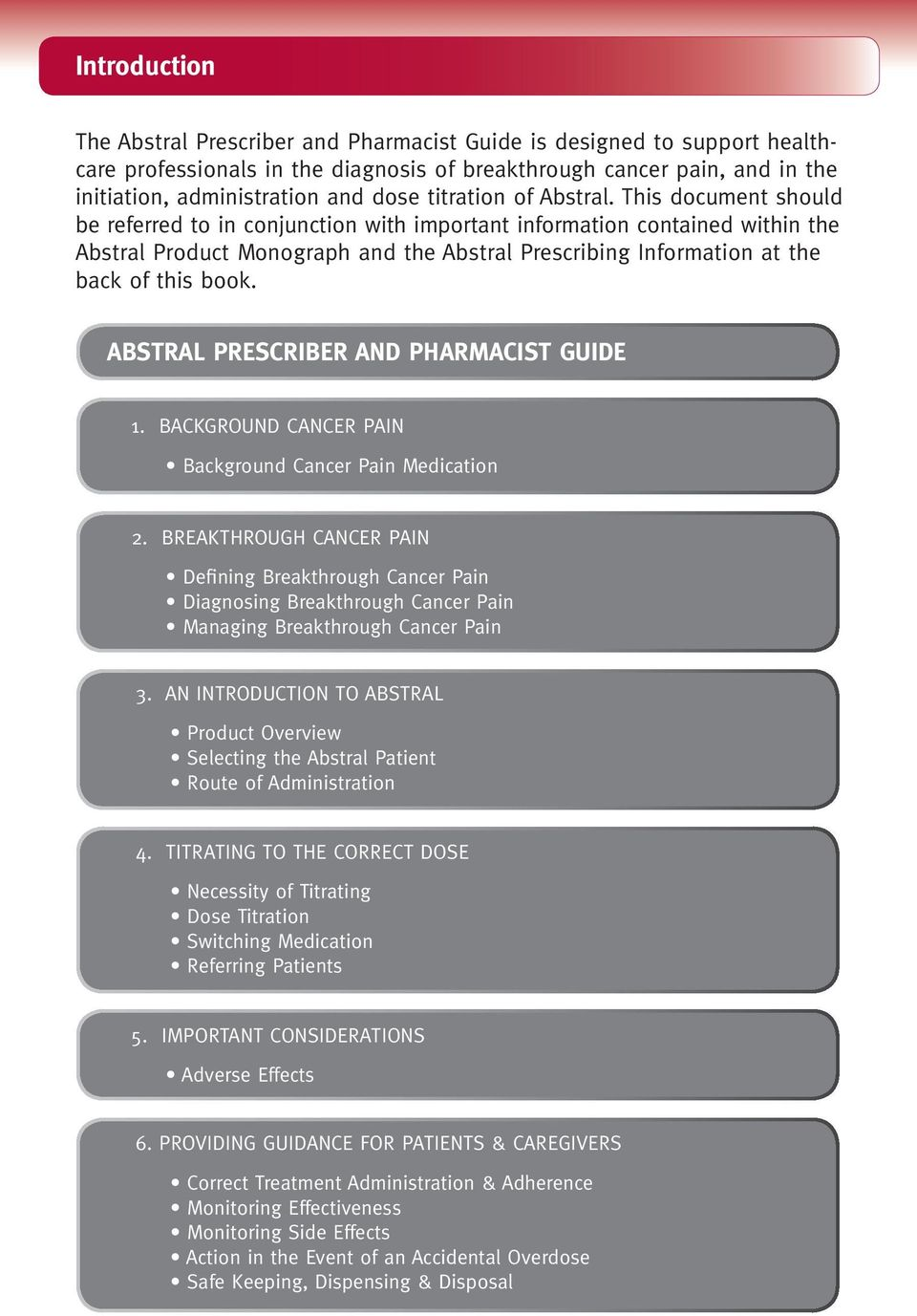 This document should be referred to in conjunction with important information contained within the Abstral Product Monograph and the Abstral Prescribing Information at the back of this book.