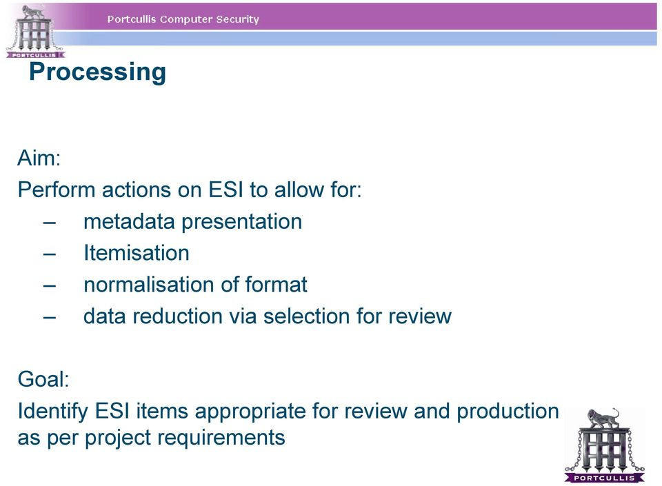 data reduction via selection for review Goal: Identify ESI