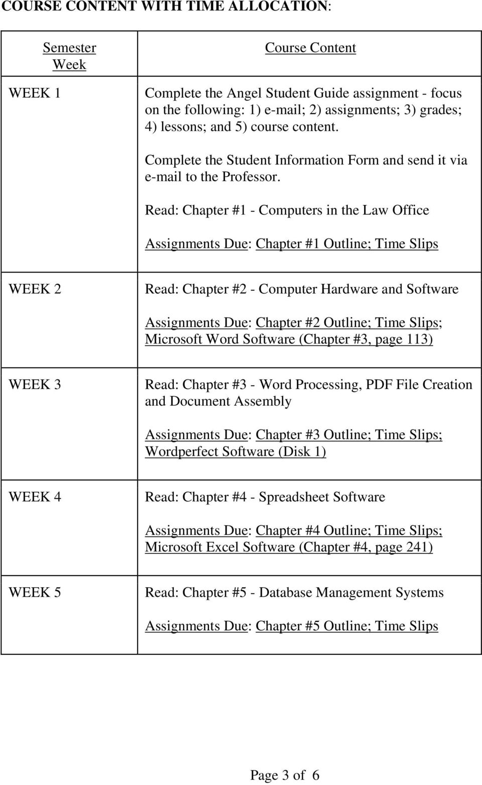 Read: Chapter #1 - Computers in the Law Office Assignments Due: Chapter #1 Outline; Time Slips WEEK 2 Read: Chapter #2 - Computer Hardware and Software Assignments Due: Chapter #2 Outline; Time
