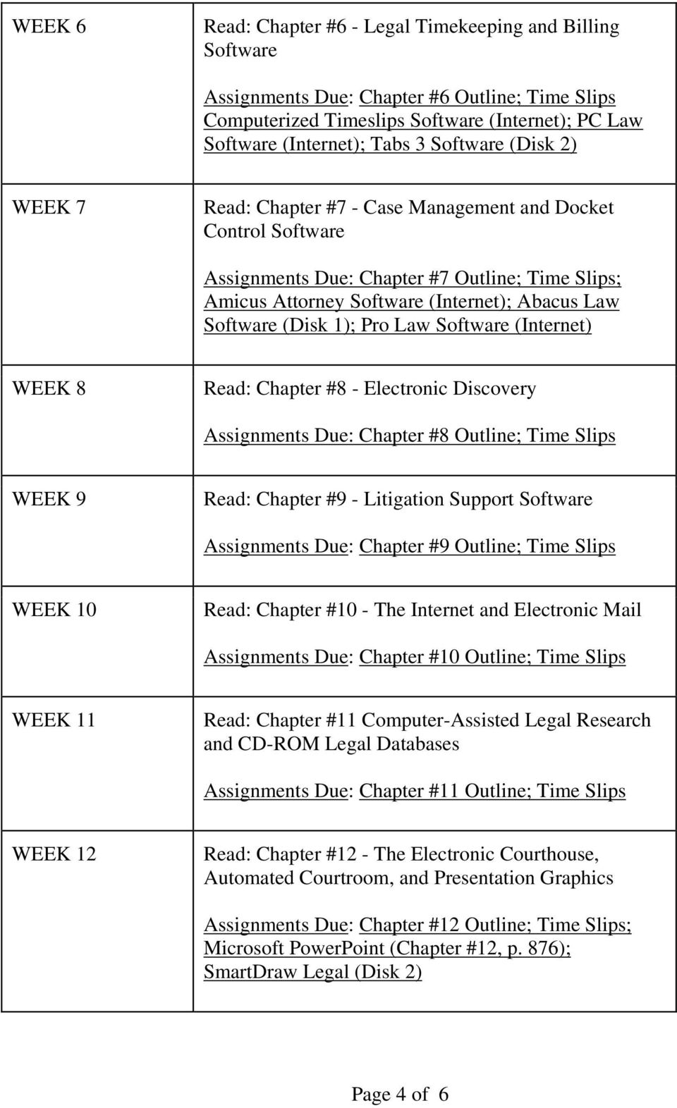 1); Pro Law Software (Internet) WEEK 8 Read: Chapter #8 - Electronic Discovery Assignments Due: Chapter #8 Outline; Time Slips WEEK 9 Read: Chapter #9 - Litigation Support Software Assignments Due: