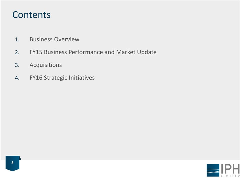 FY15 Business Performance and