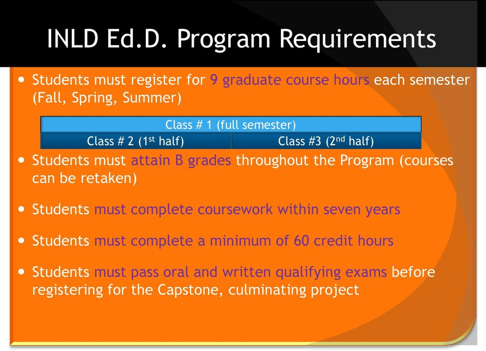 Program (courses can be retaken) Students must complete coursework within seven years Students must complete a minimum
