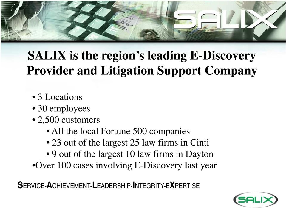 largest 25 law firms in Cinti 9 out of the largest 10 law firms in Dayton Over 100 cases