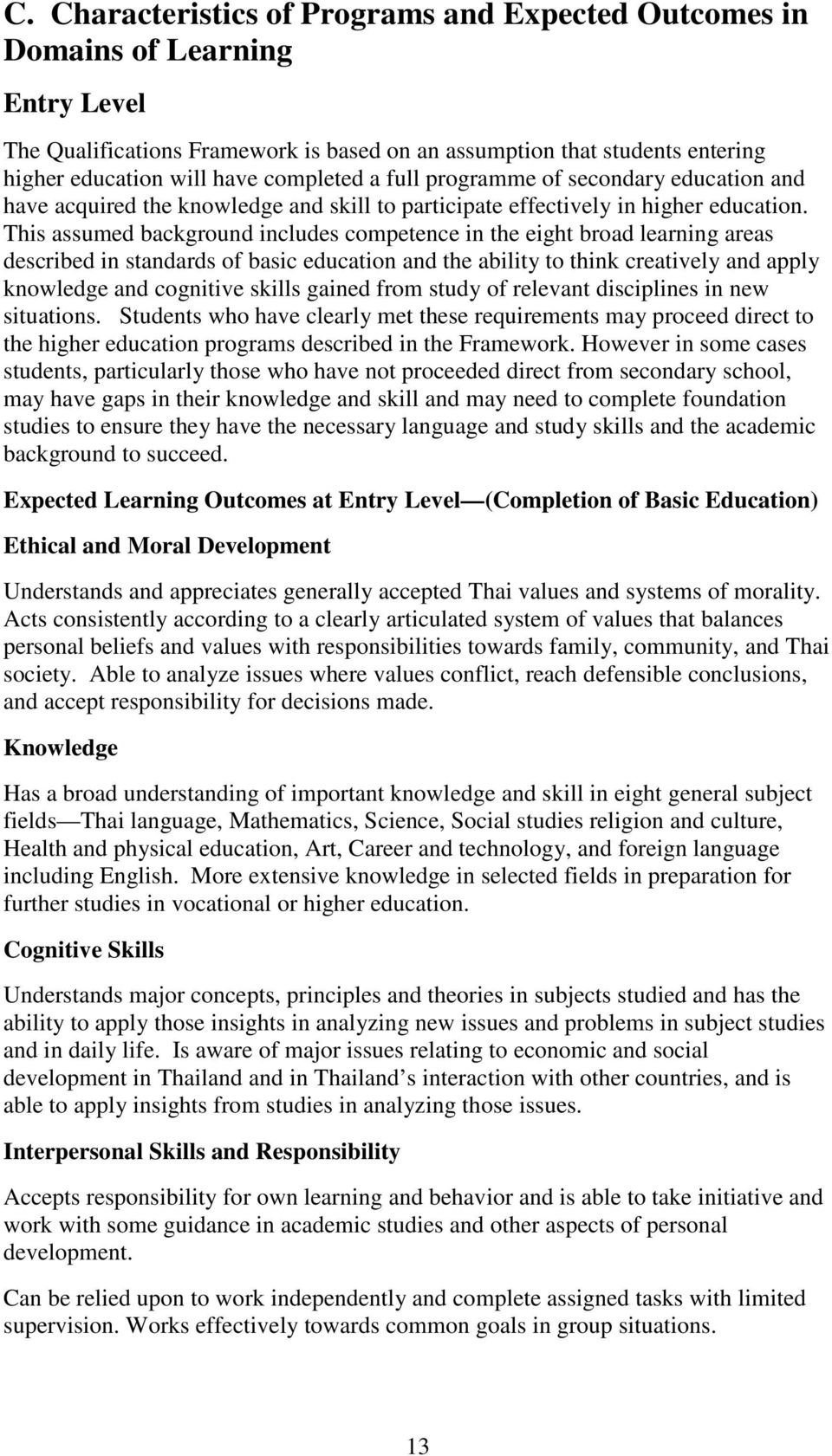 This assumed background includes competence in the eight broad learning areas described in standards of basic education and the ability to think creatively and apply knowledge and cognitive skills