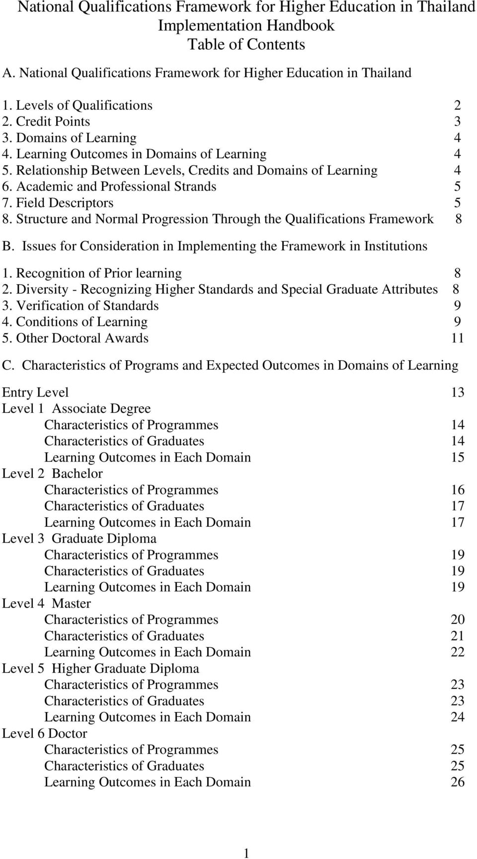 Academic and Professional Strands 5 7. Field Descriptors 5 8. Structure and Normal Progression Through the Qualifications Framework 8 B.