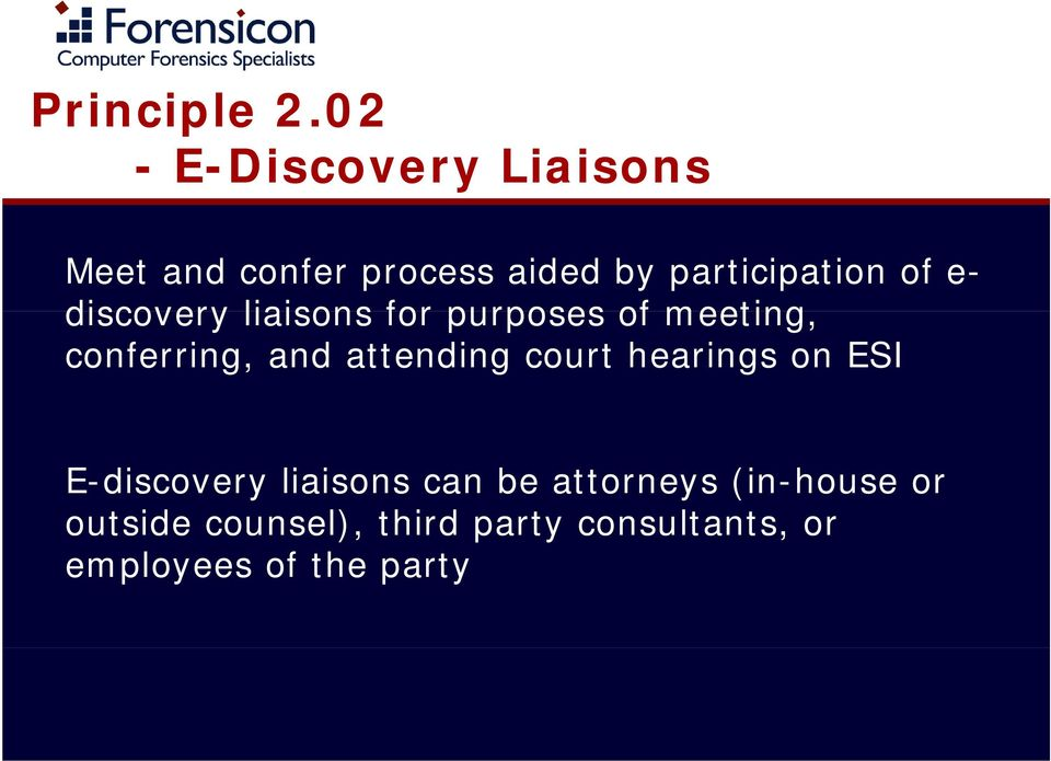 e- discovery liaisons for purposes of meeting, conferring, and attending