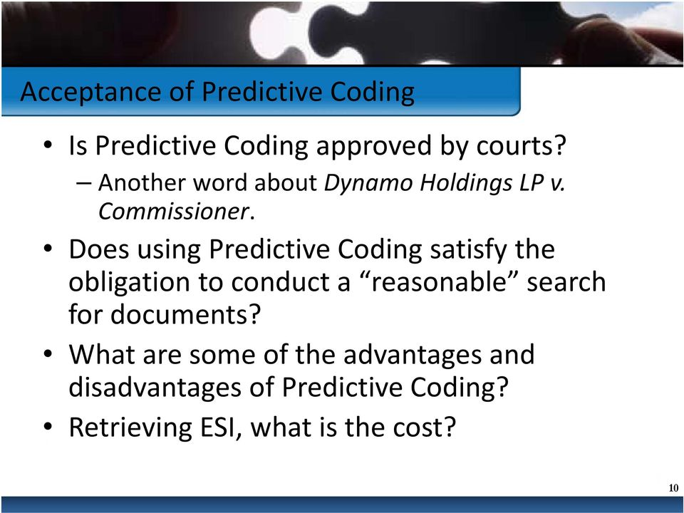 Does using Predictive Coding satisfy the obligation to conduct a reasonable search