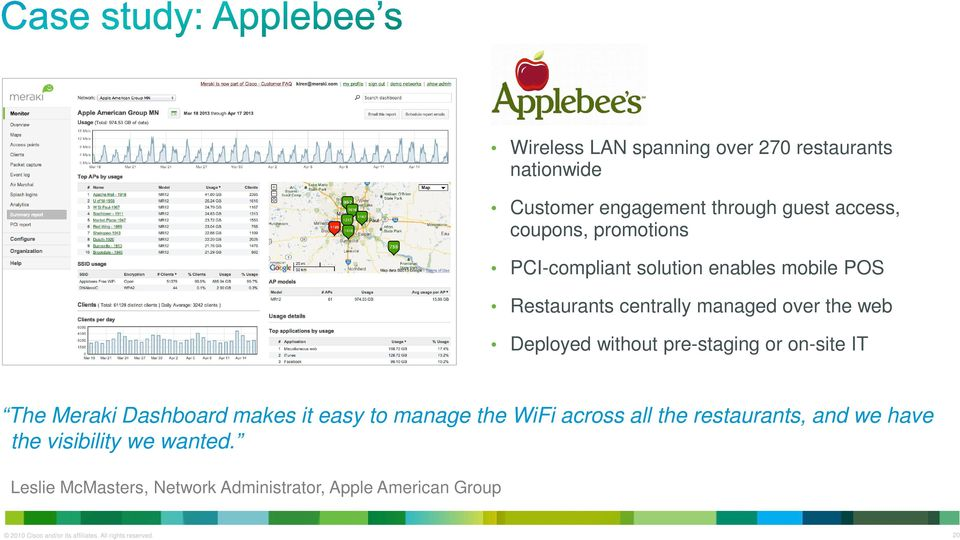 on-site IT The Meraki Dashboard makes it easy to manage the WiFi across all the restaurants, and we have the visibility