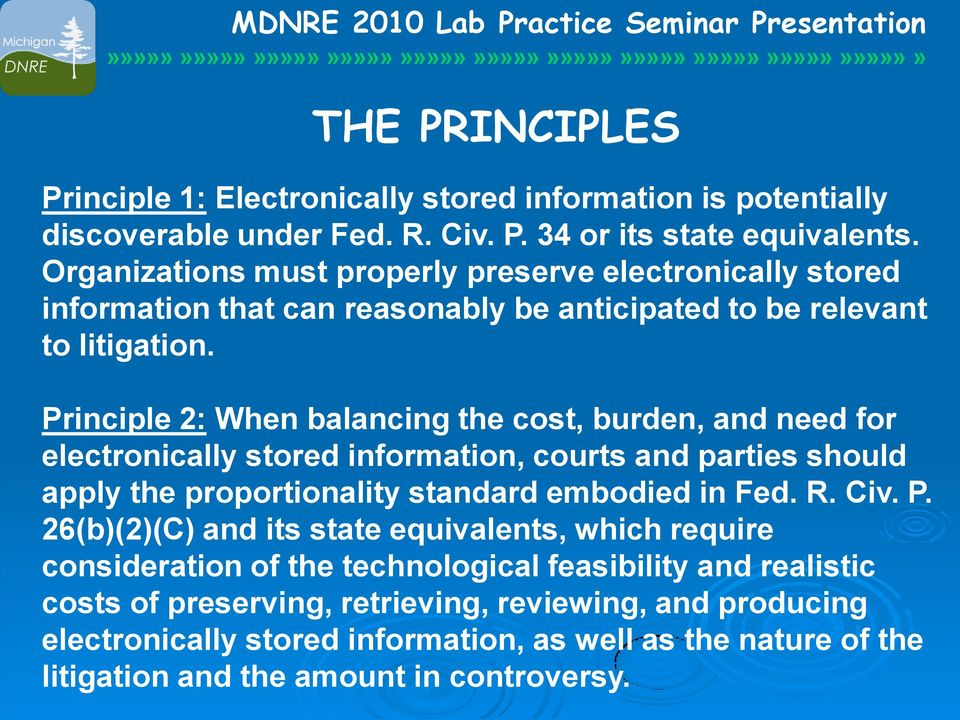 Principle 2: When balancing the cost, burden, and need for electronically stored information, courts and parties should apply the proportionality standard embodied in Fed. R. Civ. P.