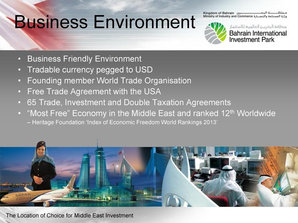 Investment and Double Taxation Agreements Most Free Economy in the Middle East and