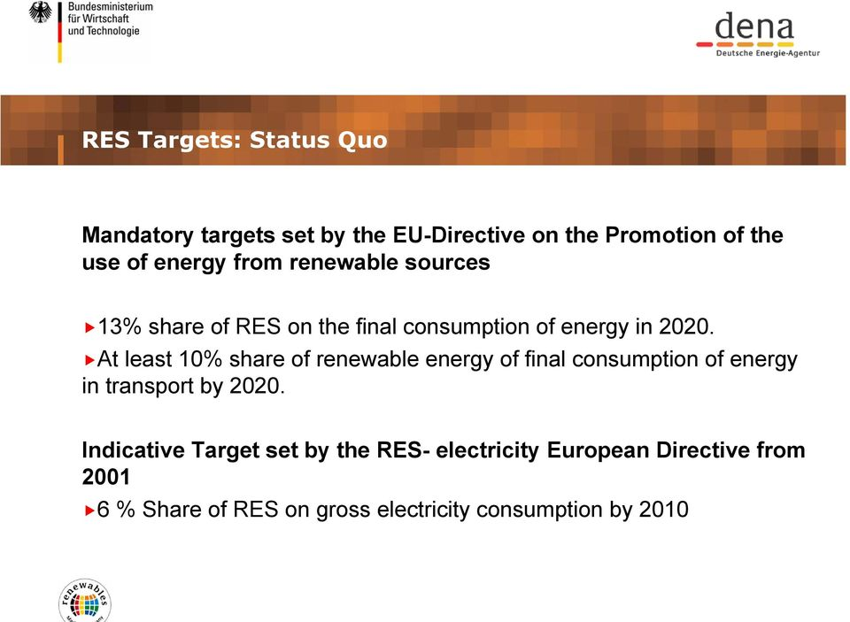 At least 10% share of renewable energy of final consumption of energy in transport by 2020.